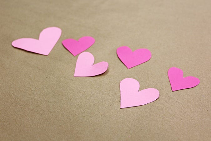 cut out pink hearts