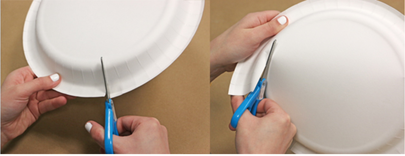 cutting a paper plate