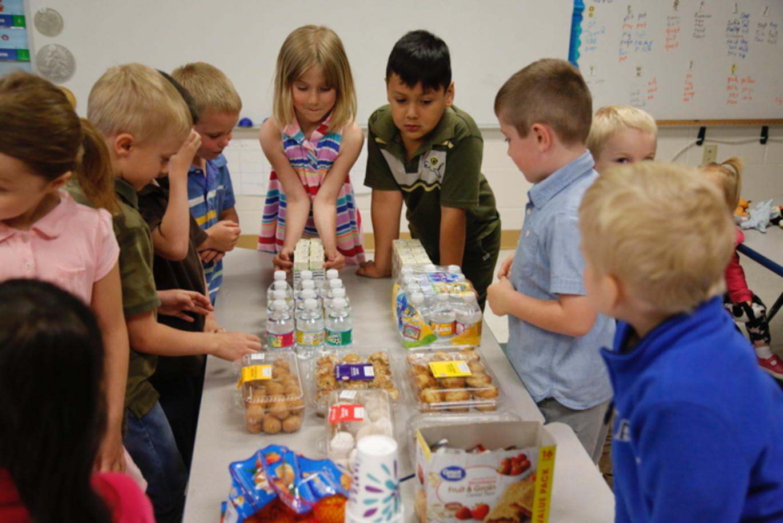 students around food
