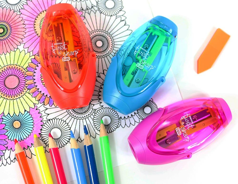 duo pencil sharpener in multiple colors