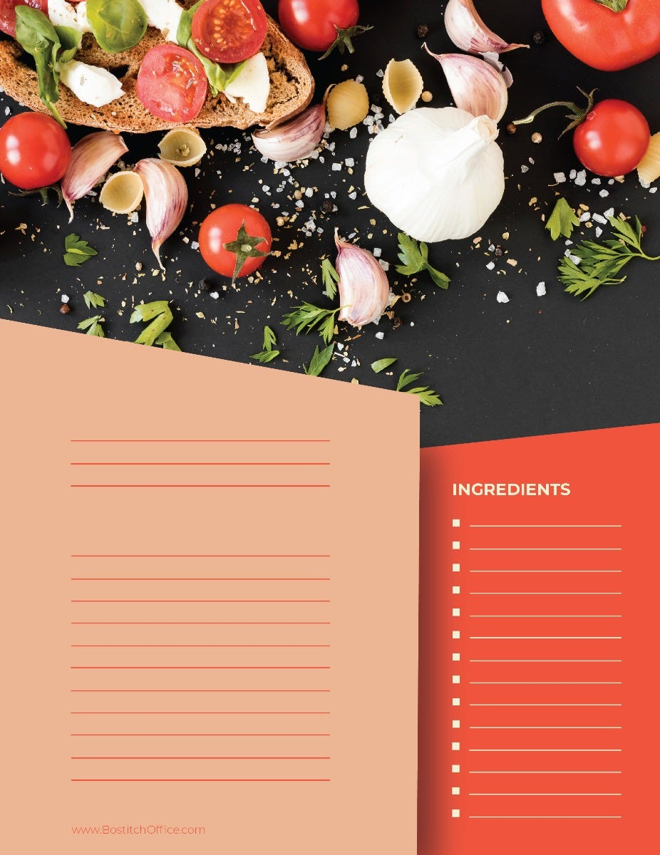 Entree Recipe Card