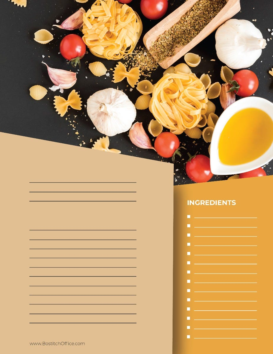 Main Course Recipe Card