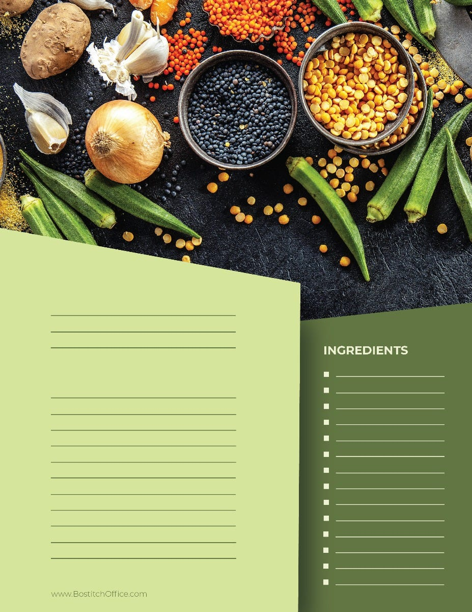 Appetizer Recipe Card