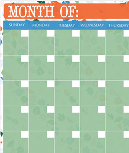 Fall Monthly Calendar Printable