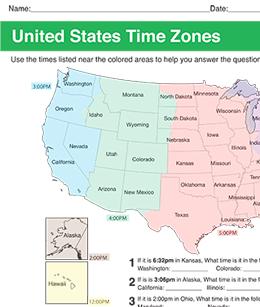 Printable US Time Zones Worksheet
