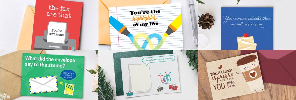 Office Puns Printable Cards