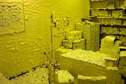 post-it note covered office