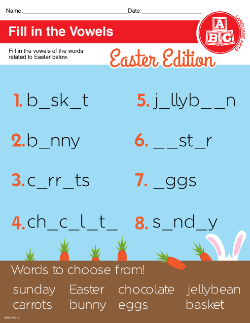 Easter Vowels Worksheet