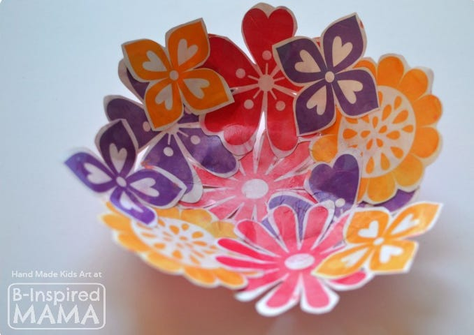 Paper Flower Collage Bowl