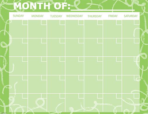 green monthly calendar