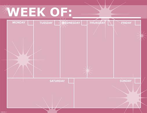 pink weekly calendar