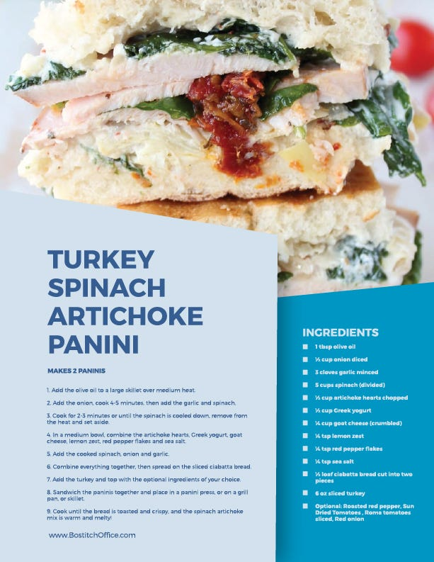 turkey spinach artichocke panini recipe