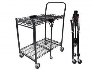 Small Utility Cart with Wheels in Black
