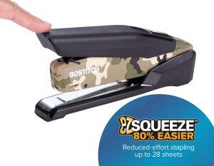 Wounded Warrior® EZ Squeeze™ Spring Powered Desktop Stapler, 28 Sheets, Camouflage