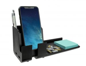Black Desk Phone Stand Organizer Charging Station