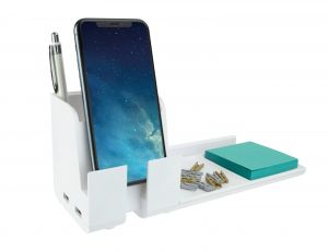 White Desk Phone Stand Organizer Charging Station