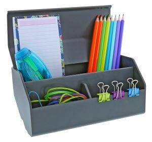 Desktop Organizer Wide Cup Shown with Office Supplies