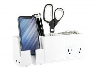 Desk Organizer with Charging Station in White