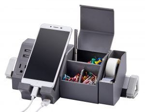 Gray Konnect™ Desktop Charging Station Shown with Office Supplies