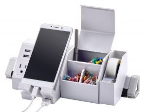 White Konnect™ Desktop Charging Station Shown Propped with Office Supplies