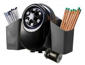 QuietSharp™ Glow Antimicrobial Classroom Pencil Sharpener with Pencil Caddy and Replacement Cutter