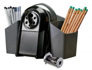 SuperPro™ Glow Antimicrobial Classroom Electric Pencil Sharpener with Pencil Caddy and Replacement Cutter