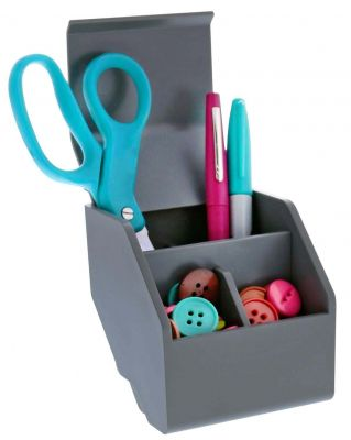 Desktop Organizer Cup Propped with Scissors, Pens, and Buttons