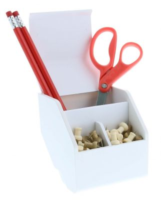 Desktop Organizer Cup Propped with Scissors, Pencils, and Thumbtacks