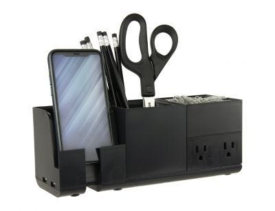 Desk Organizer with Charging Station in Black