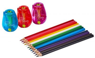 Colored Pencil Pack with 12 Pencils and 3 Hand Held Pencil Sharpeners