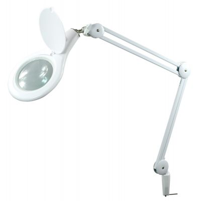 White Clamp On Magnifying Lamp