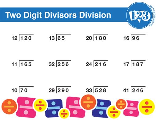 Printable Double Digit Division Worksheet