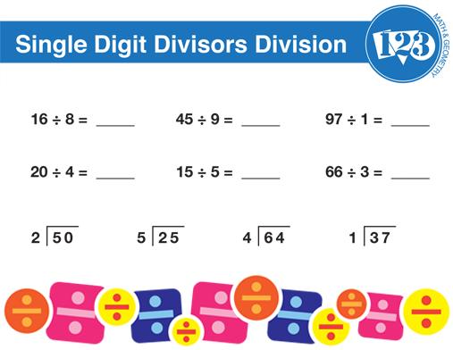 Printable Single-Digit Division Worksheet