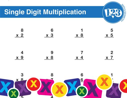 Printable Single-Digit Multiplication Worksheet
