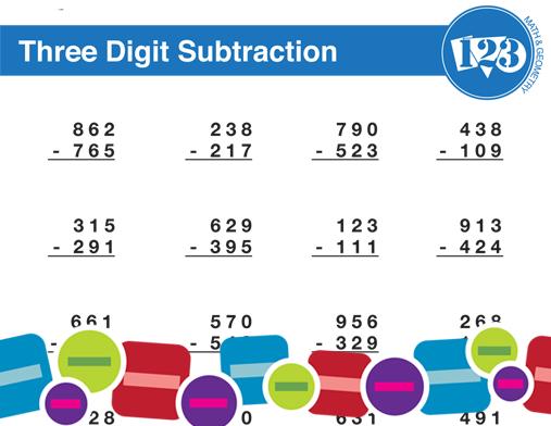 Printable Three-Digit Subtraction Worksheet