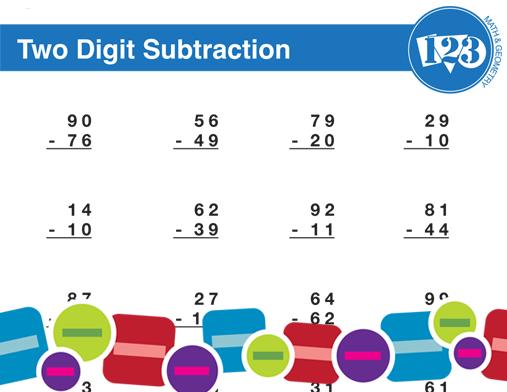 Printable Double-Digit Subtraction Worksheet