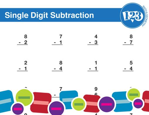 Printable Single-Digit Subtraction Worksheet