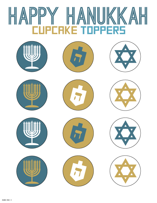 Hanukkah Cupcake Toppers Printable