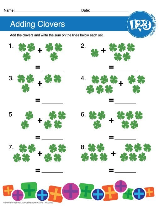 Printable Clover Counting Worksheet
