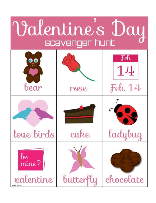 Printable Valentine's Day Scavenger Hunt Printable